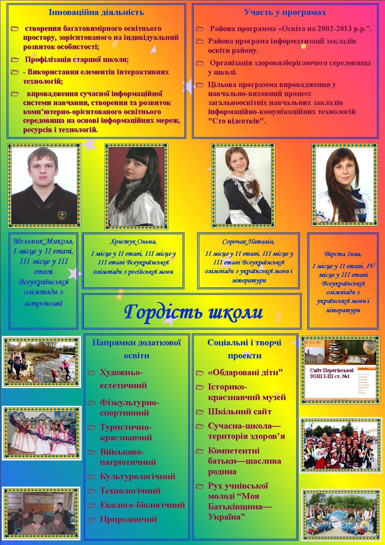 Візитка  Перегінської школи №1